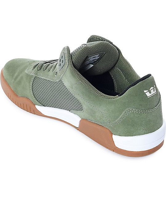 Supra Ellington Olive & Gum Suede Skate Shoes