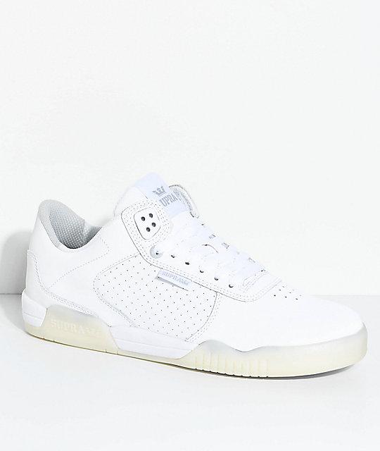 66a6d7789f Supra Ellington White & Ice Perforated Nubuck Skate Shoes   Zumiez
