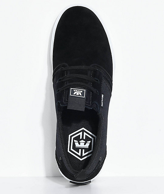 Supra Flow Black, White Suede & Denim Skate Shoes