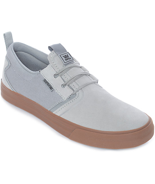 e12acbbff272 Supra Flow Grey   Gum Suede Skate Shoes