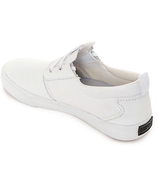 e4dce4ed34bf ... Supra Flow Hamilton White Leather Skate Shoes ...