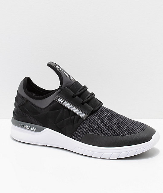 d2b612dd426d Supra Flow Run EVO Black and White Knit Shoes