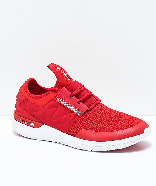 Supra Flow Run EVO Red & White Knit Shoes