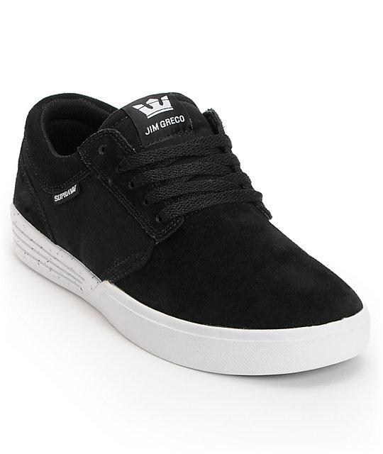 Supra Hammer Black & White Suede Skate Shoes ...
