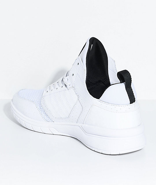 Supra Kids Method White, Black, Leather & Mesh Shoes