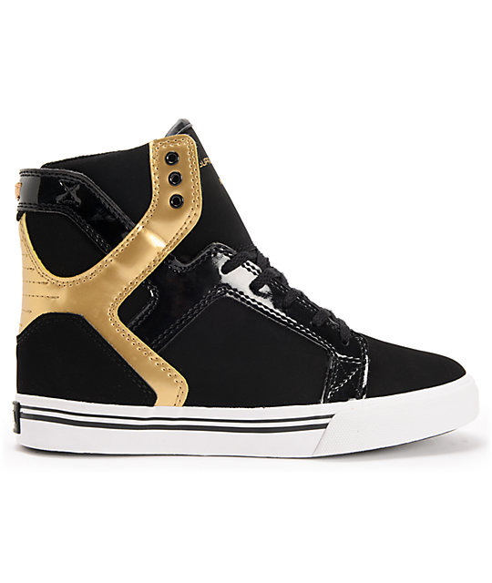 Supra Kids Skytop Black & Gold Leather Skate Shoes