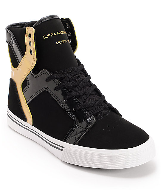 0a78c28868c Supra Kids Skytop Black & Gold Leather Skate Shoes | Zumiez