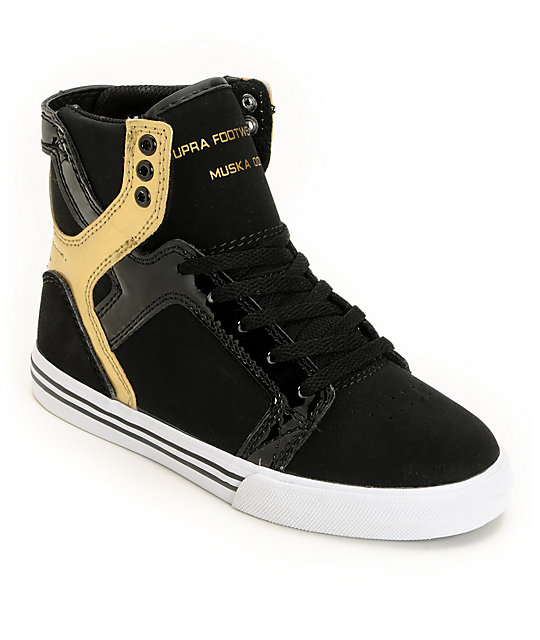 5855b21d5ca Supra Kids Skytop Black & Gold Shoes | Zumiez