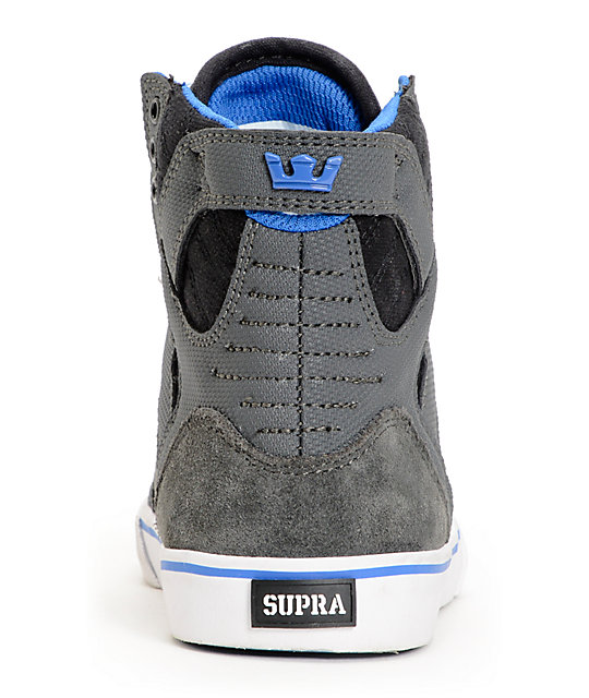 Supra Kids Skytop Grey Canvas High Top Skate Shoes