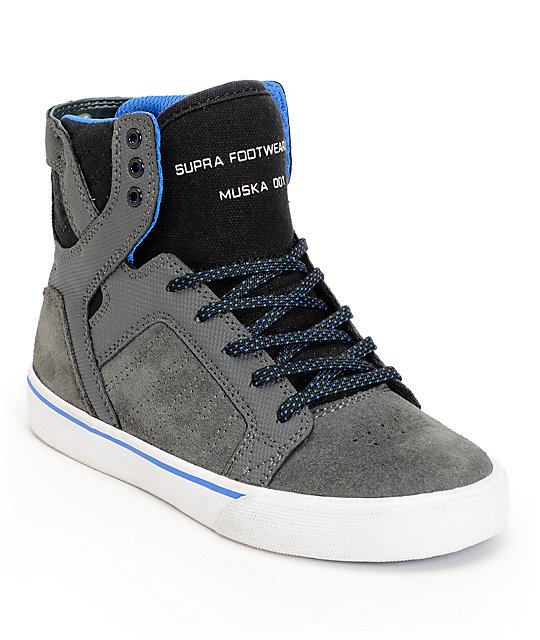 907e06769ecf Supra Kids Skytop Grey Canvas High Top Skate Shoes