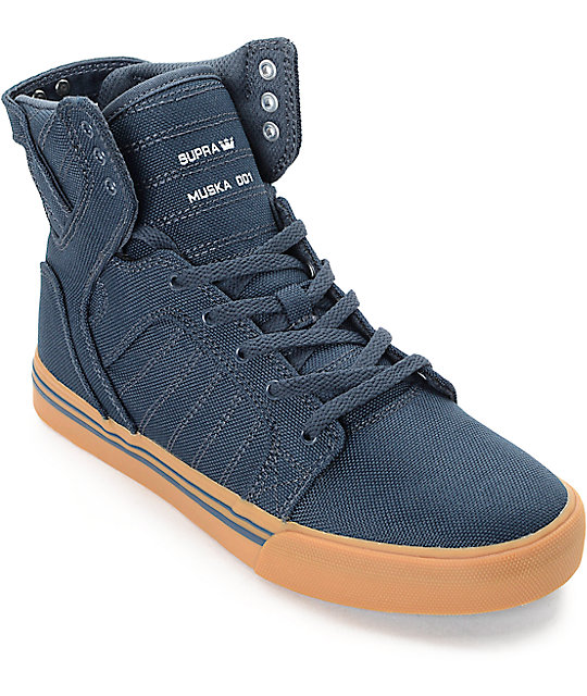 4690ab5755d7 Supra Kids Skytop Navy   Gum Canvas Skate Shoes