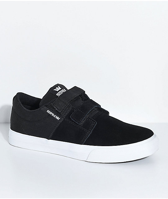 Supra Kids Stacks II Black, White, Hook & Loop Fastened Skate Shoes