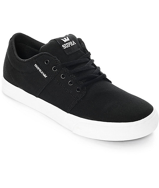 3258f82388 Supra Kids Stacks II Vulc Black & White Canvas Skate Shoes | Zumiez.ca