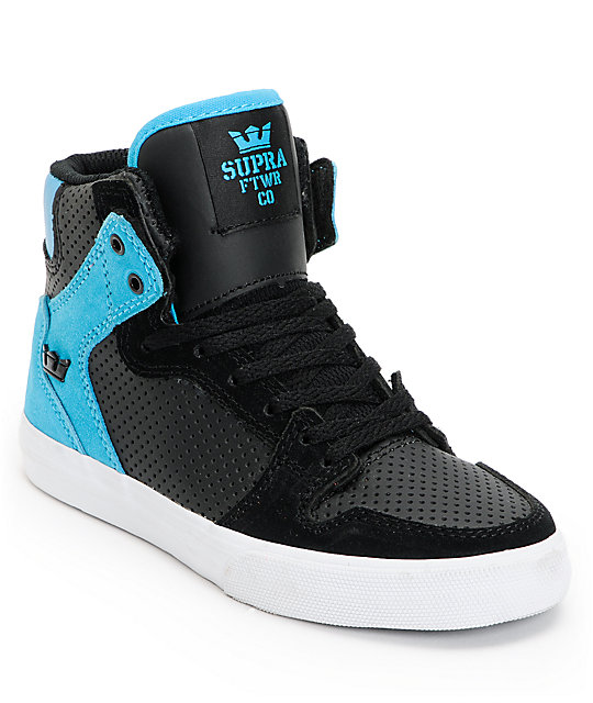 7221ae8d67e Supra Kids Vaider Black   Turquoise Perforated High Top Shoes