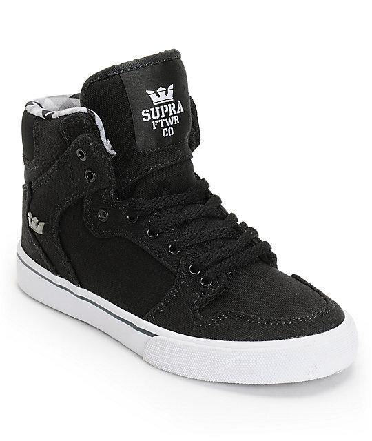 43dfb5dd00bb Supra Kids Vaider Black   White Skate Shoes