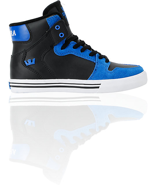 Supra Kids Vaider Blue High Top Skate Shoes