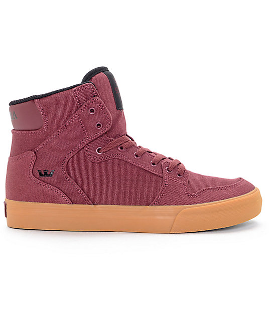 Supra Kids Vaider Burgundy & Gum Skate Shoes