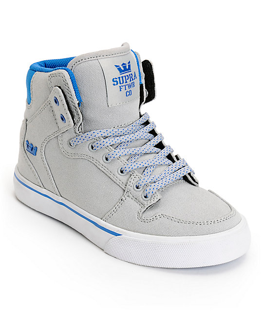Supra Kids Vaider Grey   Blue Canvas High Top Skate Shoes  214d9be407f1