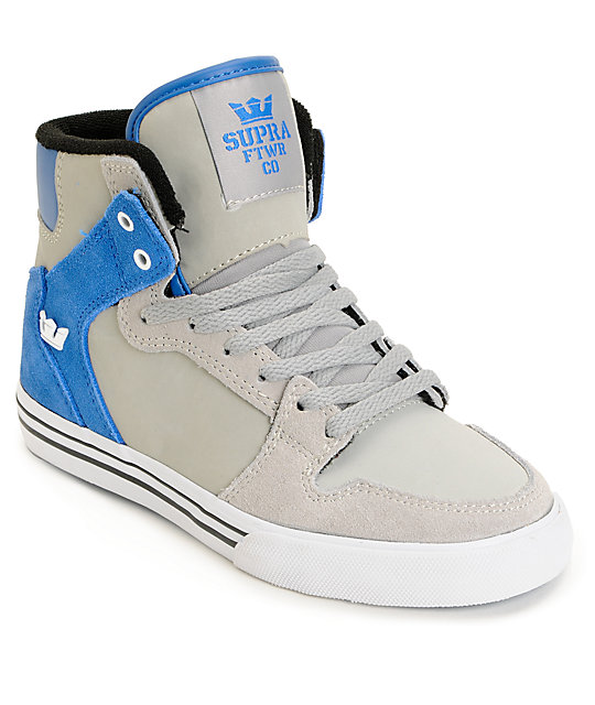 Supra Kids Vaider Grey   Blue High Top Skate Shoes  9ca4fb991