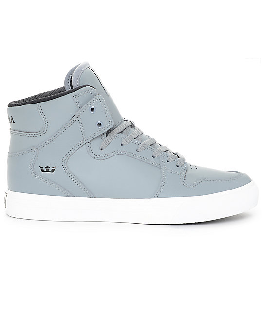 Supra Kids Vaider Grey & White Leather Skate Shoes