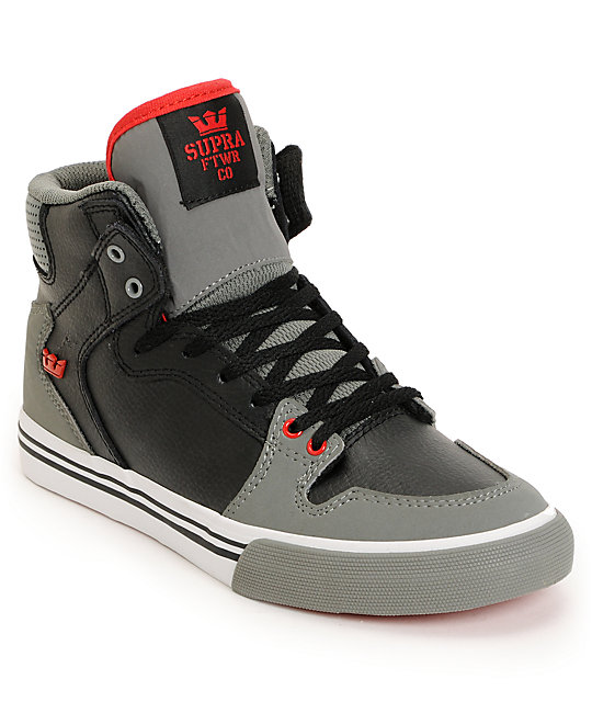 ... Supra Kids Vaider Red   Grey High Top Skate Shoes ... e412f9b3b