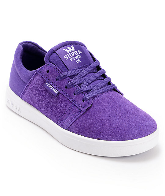 be13abd607f6 Supra Kids Westway Purple   White Suede Skate Shoes