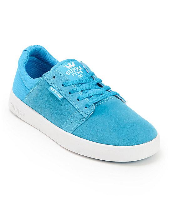 ec603a310e8e Supra Kids Westway Turquoise   White Suede Skate Shoes