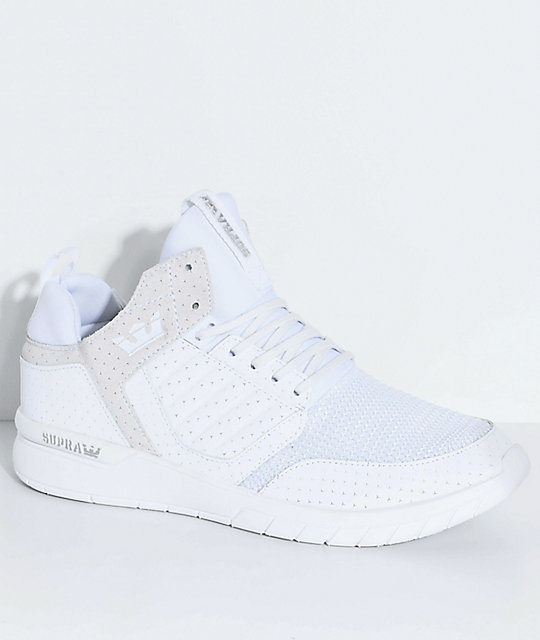 Supra Method All White Leather & Mesh Shoes