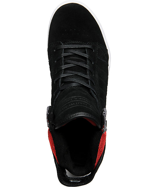 Supra Muska Skytop Black, Grey & Red Nylon Shoes