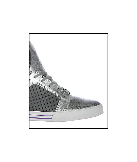 Supra Muska Skytop Grey, Purple & Silver Crackle Shoes