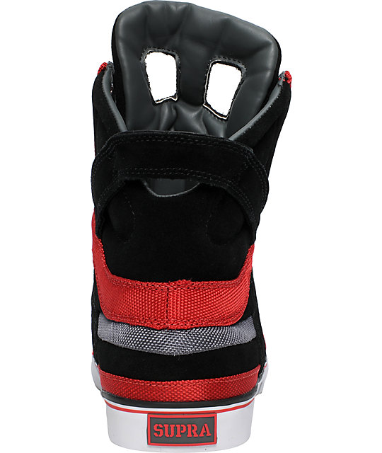 Supra Muska Skytop II Black, Grey & Red Nylon Shoes