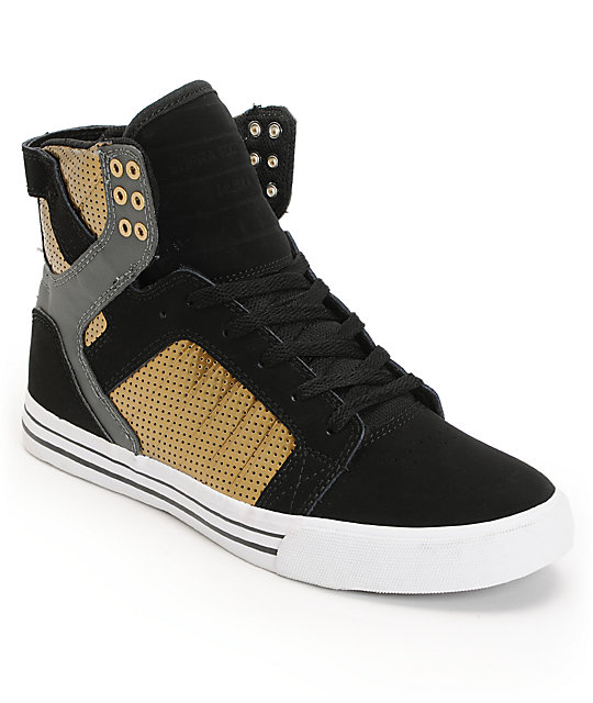 quality design 79a8b eb19a Supra Skytop Black   Gold Skate Shoes   Zumiez