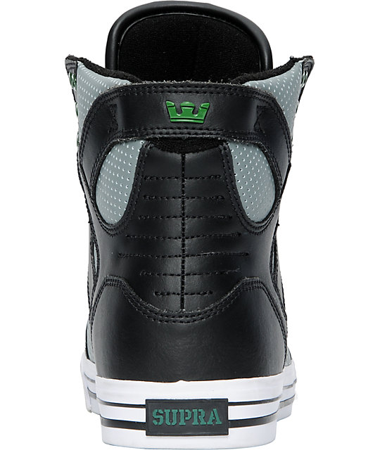 Supra Skytop Black & Grey Perforated Leather Skate Shoes