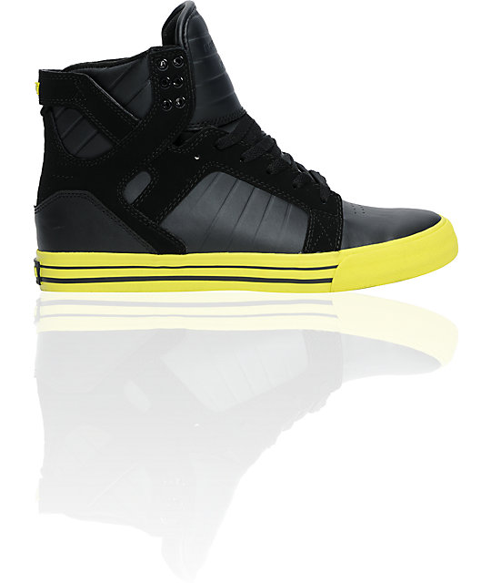 Supra Skytop Black Action Leather & Neon Yellow Shoes