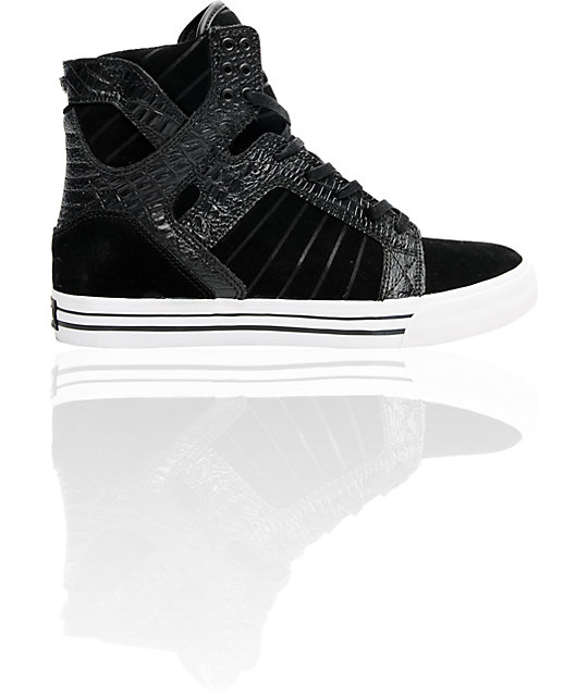 Supra Skytop Black Croc & Suede Skate Shoes