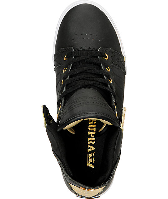 Supra Skytop Black Satin Tuf & Gold Foil Skate Shoes