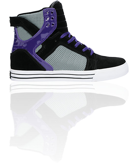 Supra Skytop Black Suede & Grey Leather Shoes