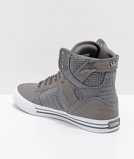 Supra Skytop Charcoal & White Woven Canvas Skate Shoes