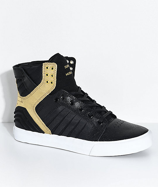 0d953624183 Supra Skytop EVO Black, Gold, Leather & Lycra Skate Shoes | Zumiez