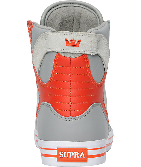 Supra Skytop Grey & Orange Leather Skate Shoes
