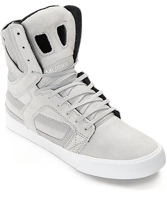 695f719d7927 Supra Skytop II Light Grey   White Skate Shoes