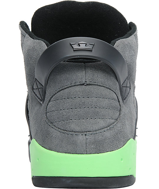 Supra Skytop III Charcoal Suede & Neon Lime Shoes