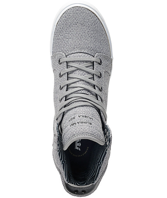 Supra Skytop Light Grey & Navy Knit Skate Shoes