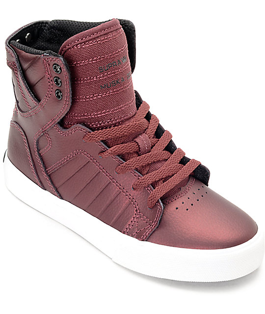 Supra Skytop Metallic Burgundy Kids Shoes