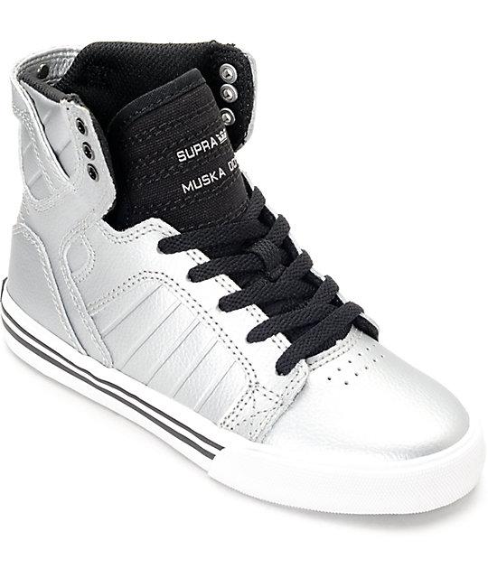 53c7c61c6ac0 Supra Skytop Metallic Pewter Kids Shoes