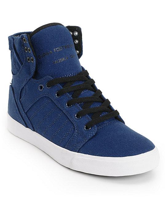 Supra Skytop Navy & White Canvas Skate Shoes ...