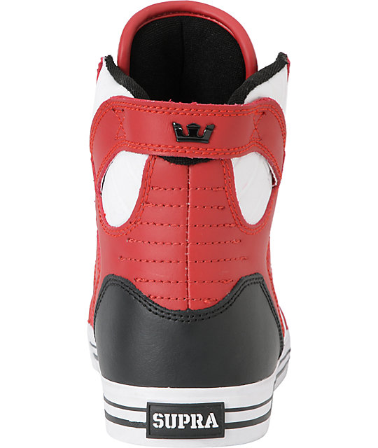 Supra Skytop Red, Black & White Leather Skate Shoes