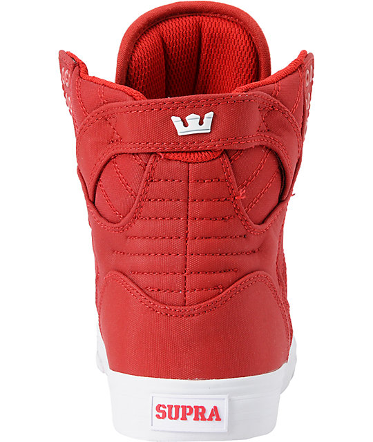 Supra Skytop Red Express Tuf Canvas Skate Shoes