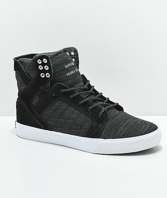 2644eafc1b06 Supra Skytop Reflective Black   Charcoal Skate Shoes