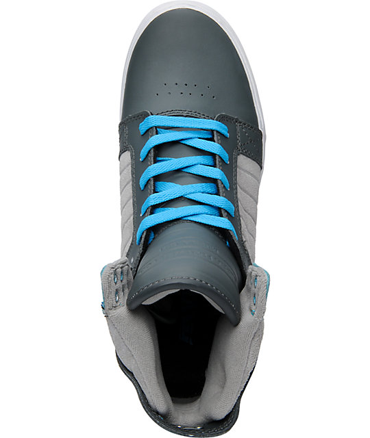 Supra Skytop Smooth Grey & Turquoise Action Leather Skate Shoes